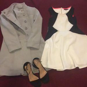 Evening outfit, coat, dress, high heels. 💞